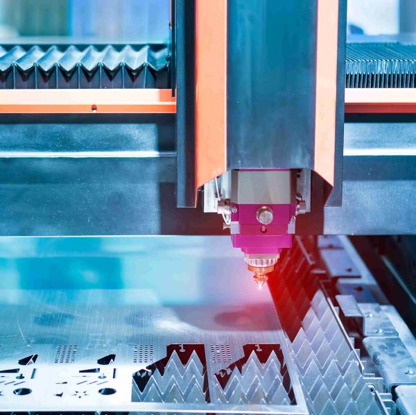 Machine cutting a steel